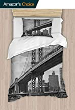 PRUNUSHOME Polyester Sheets Queen Size Bridge NYC Vintage East Huds Image USA Travel Top Place City Photo Fine 2 Piece Set Queen