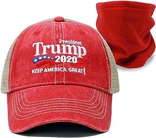 [Set] Trump 2020 Keep America Great Campaign Embroidered US Hat & Neck Fleece   Baseball Bucket Trucker Cap
