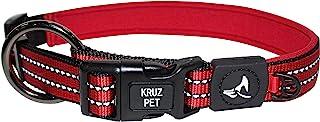 KRUZ PET KZV006-03L Reflective Dog Collar for Small, Medium, Large Dogs, 100% Nylon Adjustable Pet Neck Collar, Heavy Duty...