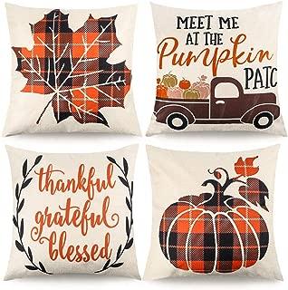 CDWERD 4pcs Fall Pillow Covers Decorative Farmhouse Autumn Theme Throw Pillow Case Cushion Cover Maple Leaf Pumpkin Cotton Linen Home Decor 18 x 18 Inches