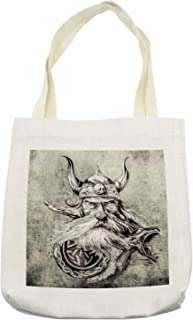 Ambesonne Tattoo Tote Bag, Pencil Drawing of a Brave Viking Warrior with Armour Image Adventure, Cloth Linen Reusable Bag for Shopping Books Beach and More, 16.5
