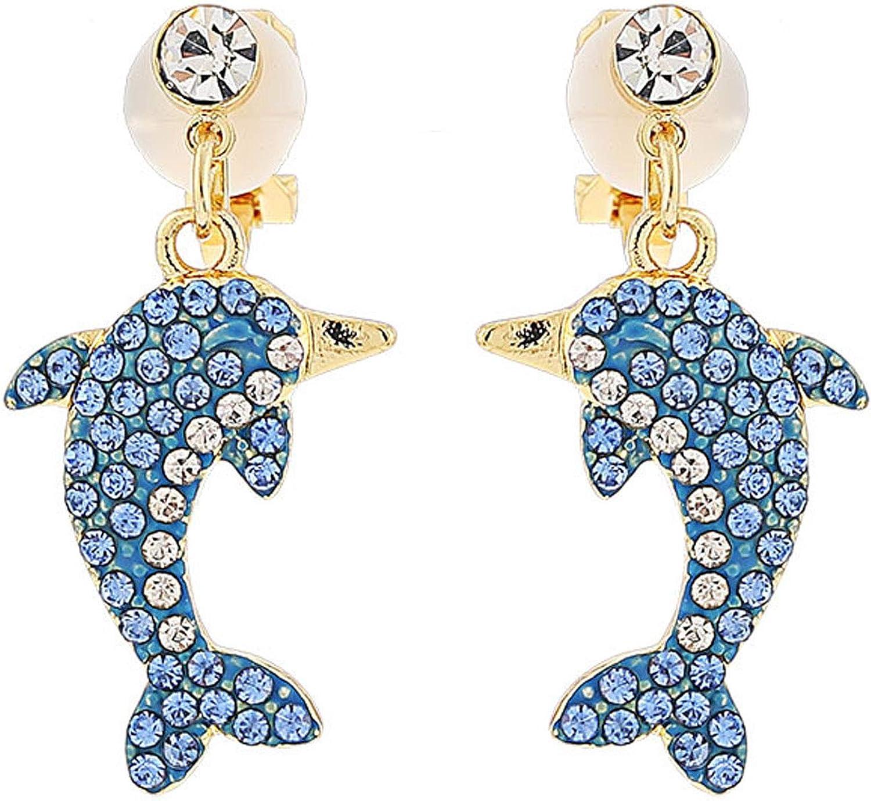 Clip on Earrings Dolphin Dangling for Women Girls Kids Teens Gold Tone Crystal Rhinestone Chandelier Cute