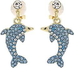Clip on Earrings Dolphin Dangling Daughter Girls Kids Teens Gold Tone Crystal Rhinestone Chandelier Cute