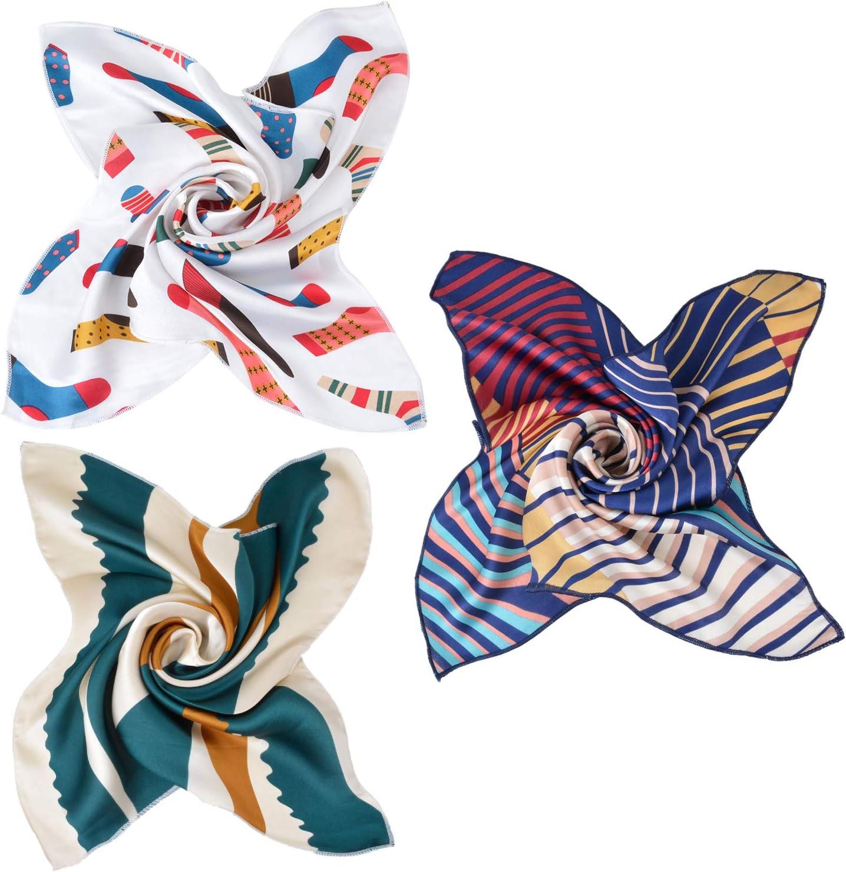 FunPa 3Pcs Square Scarf Fashion Decorative Dots Floral Striped Neck Scarf for Women