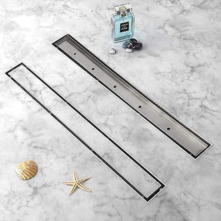 uyoyous Canaleta de ducha de 90 cm, desagüe de suelo de acero inoxidable, desagüe de azulejos, sifón autolimpiable para baño, desagüe de ducha, muy plano, juego completo