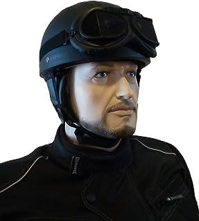 CHEYENNE Retro Oldtimer Helm mit PU Leder bezogen und Fliegerbrille (M (57/58 cm))