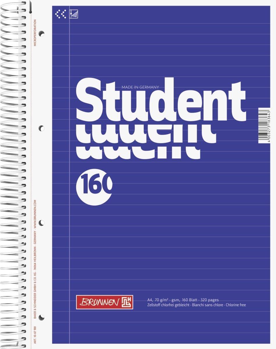 Brunnen 20 Notizblock / Collegeblock Student A20, liniert 20 g/m², 20  Blatt