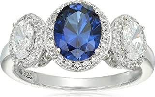 Platinum-Plated Sterling Silver Oval Shaped Created Blue Sapphire and Swarovski Zirconia 3 Stone Halo Ring