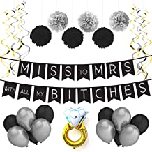 Sterling James Co. Miss to Mrs Classy & Sassy Bachelorette Black & Silver Party Pack - Bachelorette Party Decorations, Favors and Supplies