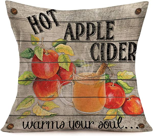 Smilyard Vintage Wooden Apple Print Pillow Covers Fruit Cotton Linen Hot Apple Cider Words Decorative Throw Pillow Cushion Cover Square Home Sofa Bedroom Pillowcase 18x18 Inch Apple Cider