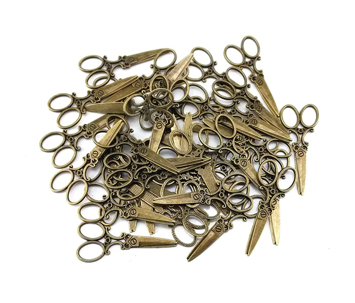 yueton 40pcs Vintage Scissors Shape Metal Charms Pendant DIY Craft Jewelry Making Accessory (Bronze) zhwcaeyq0