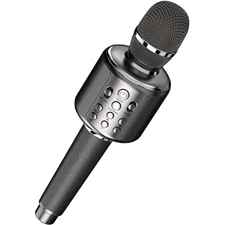 カラオケマイク bluetooth 大容量 3000mAh Goodaaa ワイヤレス マイク ブルートゥース カラオケマイク無線マイク 一人カラオケTWS機能&伴奏機能TFカード/Aux再生エコー録音機能 革ハンドルAndroid/iPhoneに対応 一年間保証 技適認証Telec/PSE/METI届出書を取得済 (グレー)