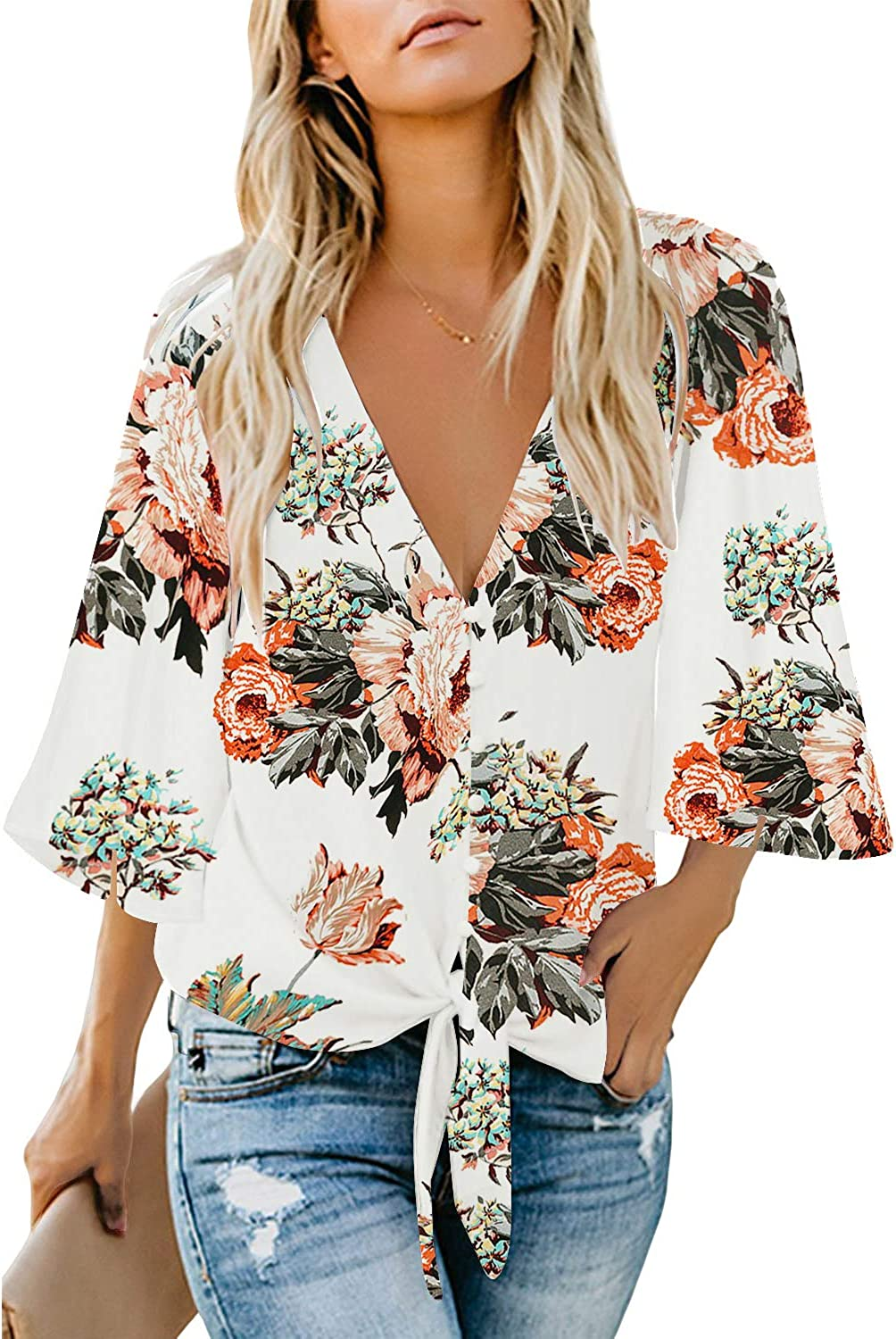 High quality luvamia Women's V Neck Tops 3 4 Floral Translated Tie Blouses Sleeve B Knot