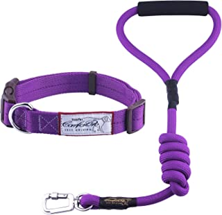 ThinkPet Heavy-Duty Polyester Adjustable Dog Collar - Buckle Durable Dog Collar with Matching Leash