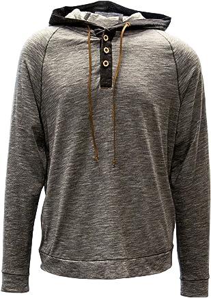 Levelwear LEY9R Men's Cameron Hoody Shield Hooded Henley, Charcoal, XXLarge