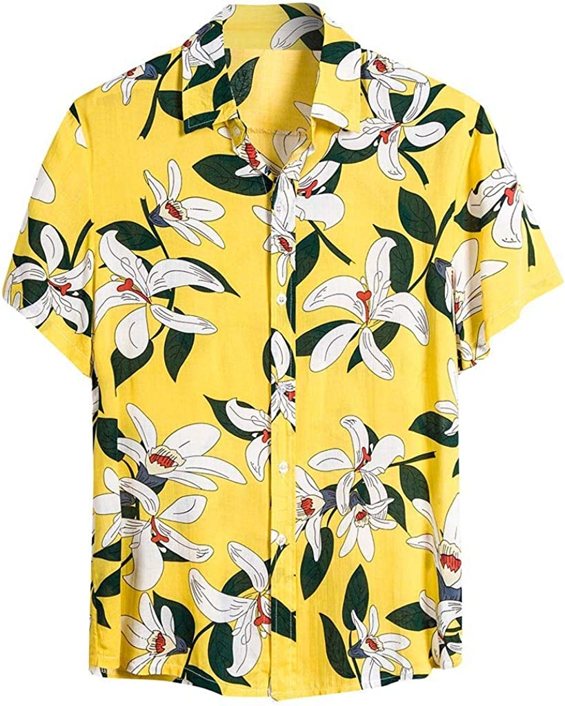 Summer Shirt for Men, Misaky Tropical Floral Print Ethnic Short Sleeve Button DownTshirt for Holiday