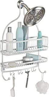 iDesign York Metal Extra Wide Hanging Shower Caddy for Shampoo, Conditioner, and Soap with Hooks for Razors, Towels, Loofahs, and More, 16