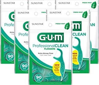 Gum Professional Clean Flossers, Fresh Mint 90 ea (Pack of 6)