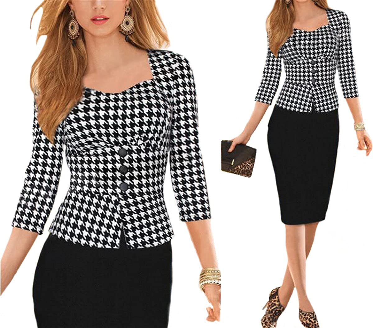 Allonly Three Buckle Lapel Wear to Work Business Bodycon Pencil Dress