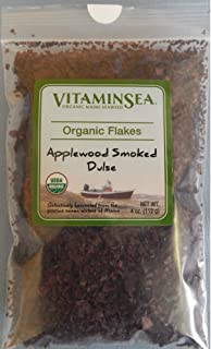 VitaminSea Organic Applewood Smoked Dulse - Flakes 4 oz / 112 G Maine Coast Seaweed - USDA & Vegan Certified - Kosher - Keto or Paleo Diets - Atlantic Ocean - (ASDF4)