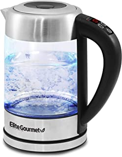 Elite Gourmet EKT-1789D Electric Programmable Cordless Glass Kettle w/ 5 Temperatures Tea & Coffee, BPA-Free, Water Steril...