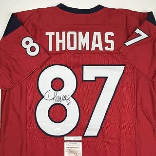 Autographed/Signed Demaryius Thomas Houston Red Football Jersey JSA COA