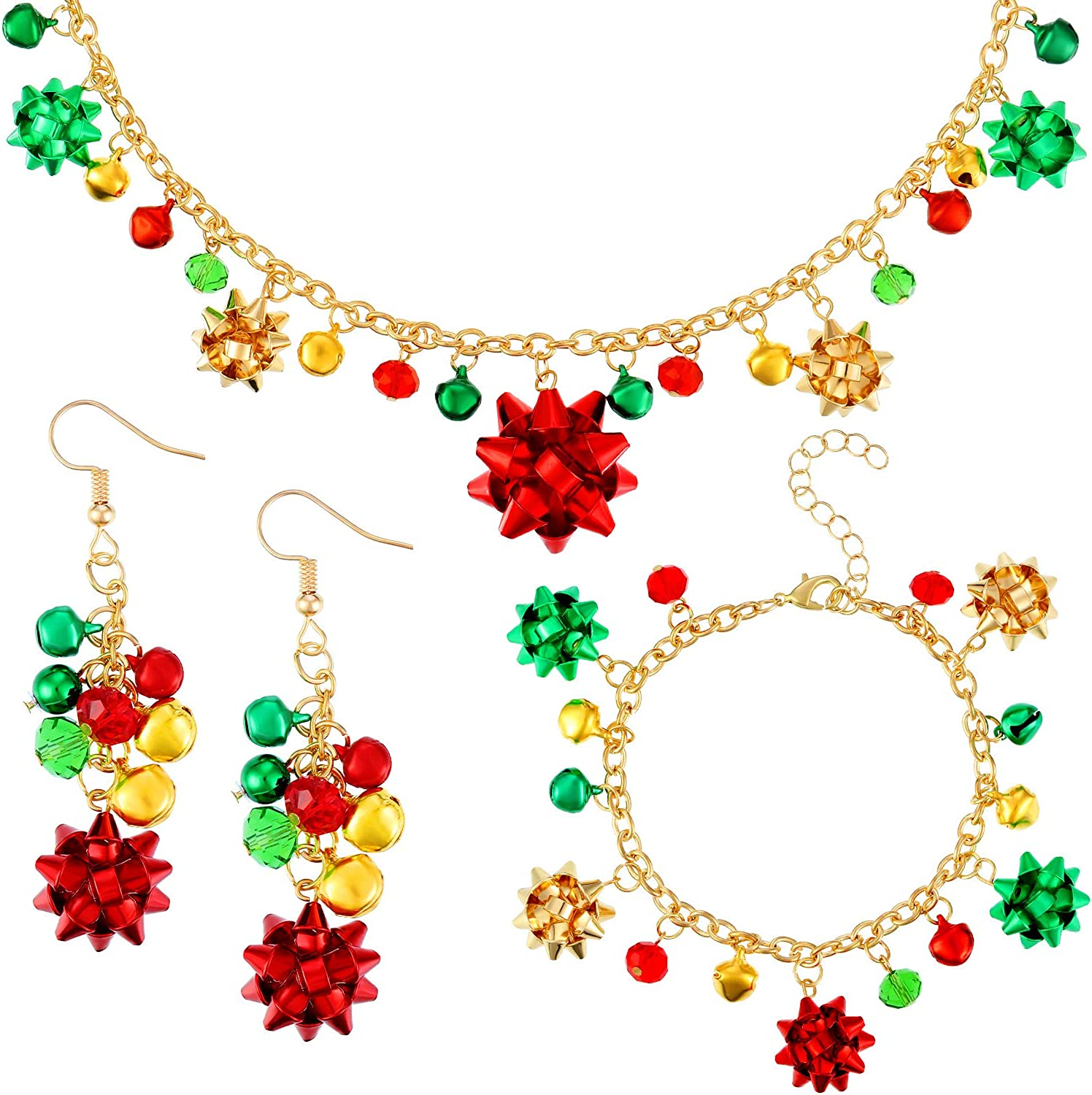 4 Pieces Christmas Bell Jewelry Set Christmas Bow Jewelry Set Includes Bow Pendant Necklace Bell Bracelet and Dangle Earrings for Christmas Party Favor