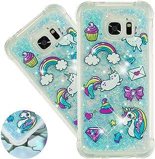Capa para Samsung S6 da HMTECHUS para meninas com glitter líquido brilhante luxuoso areia movediça à prova de choque prote...