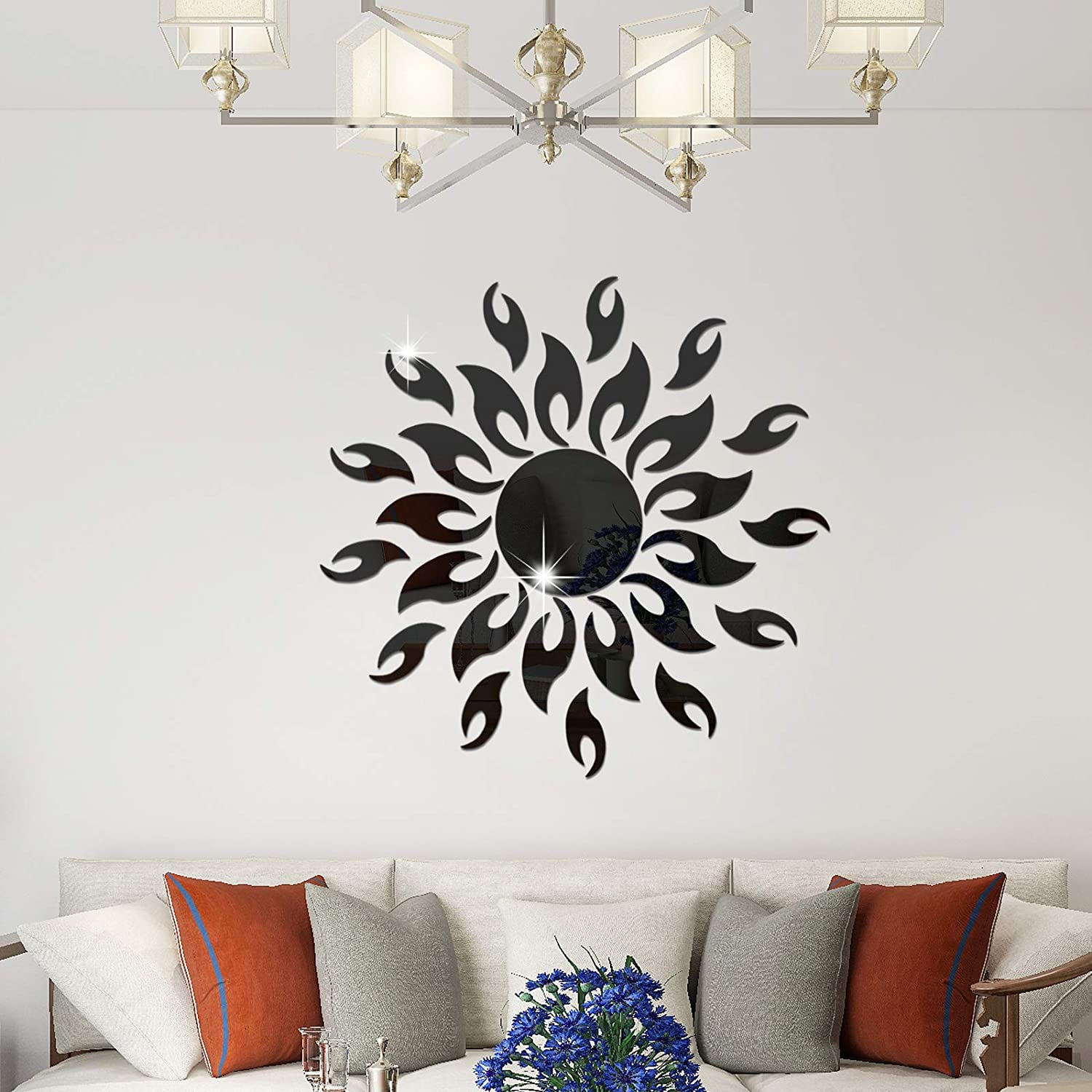 RW-001 3D Sun Flower Mirror Wall Stickers Acrylic Mirror Wall Decals DIY Removable Sun Pattern Modern Mirror Surface Wall Decor for Bedroom Living Room Office TV Background Home Decoration (Black)