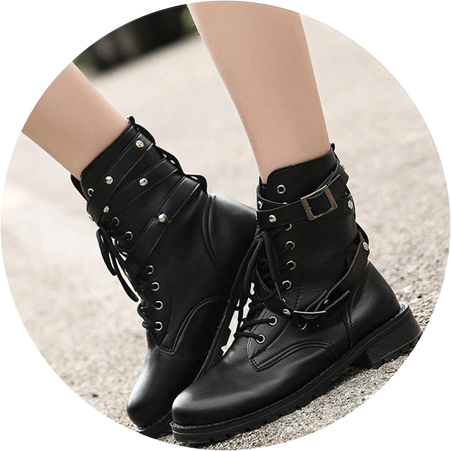 The fairy Women Lace Up Martin Boots Round Toe Pu Leather Boots shoes Ladies Combat Military Ankle Motorcycle Boots