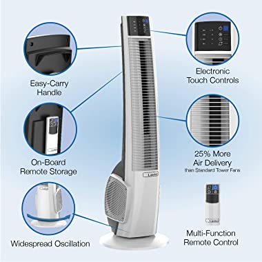 Lasko T38400 Electric Oscillating Hybrid Tower Fan with Timer and Remote Control for Indoor, Bedroom and Home Office Use, 38