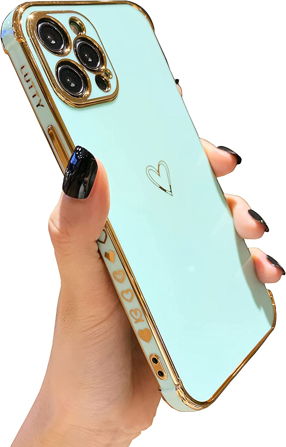 LUTTY Compatible with iPhone 12 Pro Max Case for Women, Luxury Electroplate Edge Bumper Case, Full Camera Lens Protection Reinforced Raised Corners Cover Case (6.7 inches) -Candy Green