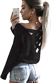 ECOWISH V Ausschnitt Oberteile Damen Kreuz Pullover Langarmshirts Tops Hemd Shirt