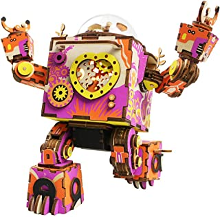 ROKR 3D Wooden Puzzle,DIY Music Box,Mechanical Robot Craft Kit Model,Colorful I Love You Robot Version,Ideal Gift for Wome...