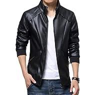KIWEN Men's Stand Up Collar Faux... KIWEN Men's Stand Up Collar Faux Leather Jacket Slim Fit