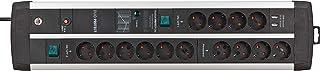 Brennenstuhl Premium-Protect-Line Gaming-Steckdosenleiste 14-fach mit 2x Schalter und Überspannungsschutz Mehrfachsteckdose mit 3m Kabel, 2-fach USB 3,1 A, Made in Germany
