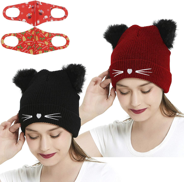 Women Winter Beanie Cute Max 86% OFF 2Pom Pom Cat T Warm Al sold out. Cuff Ears Hats Soft