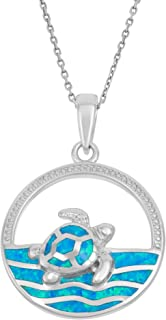 Sterling Silver or Gold Tone Created Opal Swimming Turtle in the Ocean Waves 18