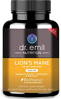 Dr. Emil Nutrition Organic Lions Mane Mushroom Capsule with Absorption Enhancers, Powerful Nootropic Brain Supplement and ...