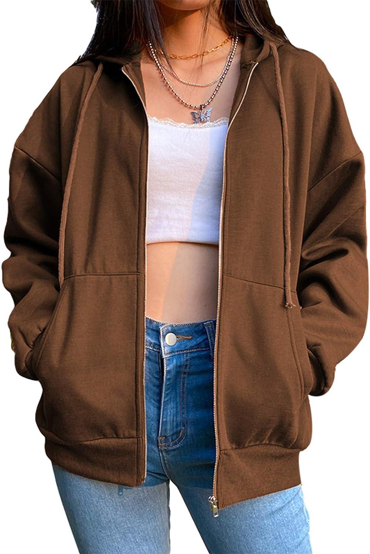 Women Zip Up Hoodie Y2k Vintage Graphic Sweatshirts Long Sleeves Top E-Girl 90S Streetwear Jacket with Pockets
