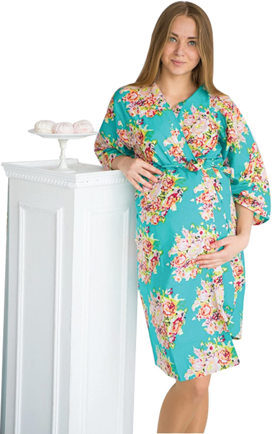 Teal Dots Maternity Robe Hospital Gown Delivery Robe labor gown delivery gown,nursing mothers,to be moms,Pregnancy Robe