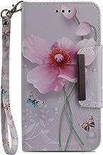 Wiitop Compatible Samsung Galaxy J7 2018 Case,Galaxy J7 Aero/J7 Star/J7 Top/J7 Crown/J7 Aura/J7 Refine/J7 Eon Case, PU Leather Wallet & Wrist Strap Flip Full Body Protective Cover Stand Pearl Flower