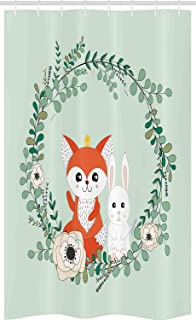 ABAKUHAUS Cartoon Animal Stall Shower Curtain, Spring Friends Rabbit and Fox Floral Cartoon, Fabric Bathroom Decor Set wit...