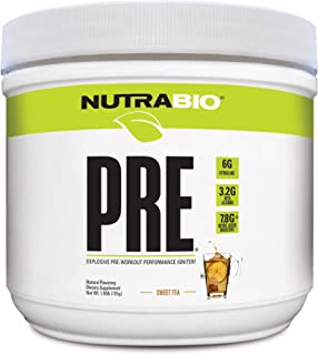 NutraBio PRE Natural (Sweet Tea) - Naturally Sweetened and Flavored Pre Workout