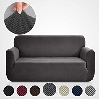 Rose Home Fashion Stretch Couch Covers for 3 Cushion Couch-Couch 1-Piece Covers for Sofa-Sofa Covers for Living Room,Couch Covers for Dogs, Sofa Slipcover,Couch slipcover(Sofa: Dark Gray)
