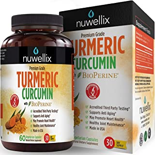 Nuwellix Turmeric Curcumin with Bioperine - Natural Anti Inflammatory Supplement Supports Pain Relief and Joint - Non-GMO Turmeric Capsules with Black Pepper - 60 Veggie Capsules