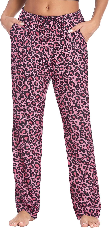Hotouch Womens Pajama Pants Stretchy Drawstring Pockets Pajama Bottoms Pj Lounge Pant S-XXL