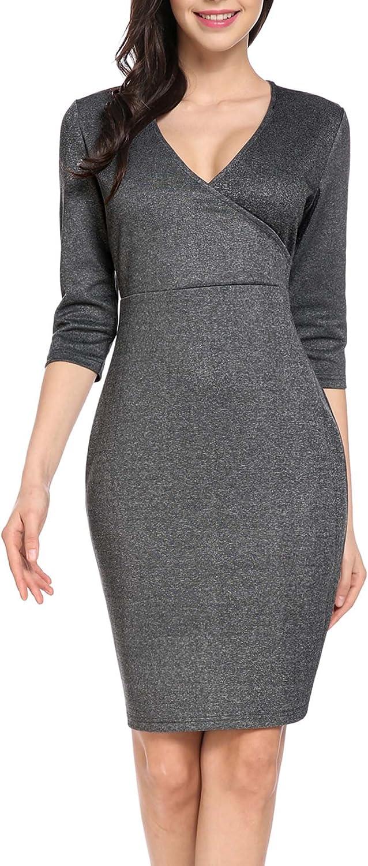 ANGVNS Women Elegant Half Sleeve V Neck Business Sheath Dress