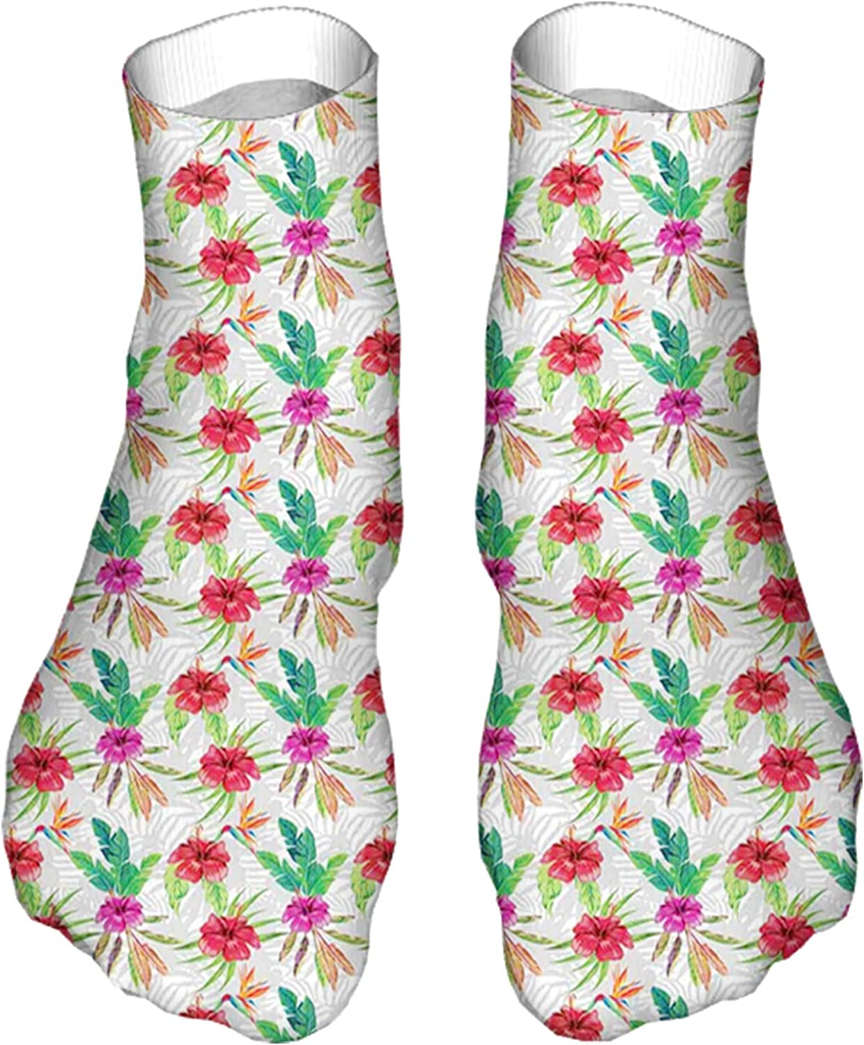 Men's and Women's Fun Socks Printed Cool Novelty Funny Socks,Hibiscus and Bird of Paradise with Banana Leaves on Gray