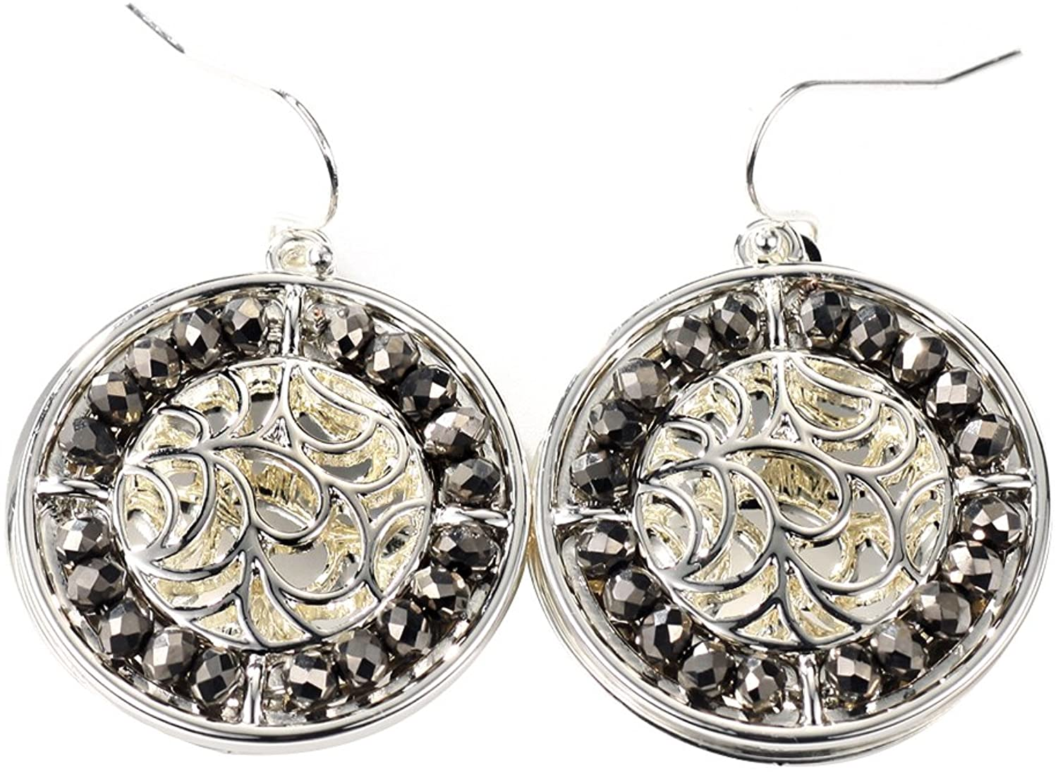 Neoglory Jewelry Silver color Two Layered Disc With Beads Drop Earrings Christmas for Sensitive Ears